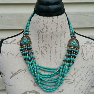 Burnt faux gold & turquoise beaded layered necklac